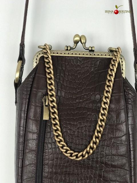 Кожаная сумочка Тиффани-16. Коричневая из сапог. Мастер-класс.